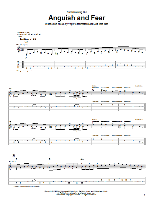 Tablature guitare Anguish And Fear de Yngwie Malmsteen - Tablature Guitare