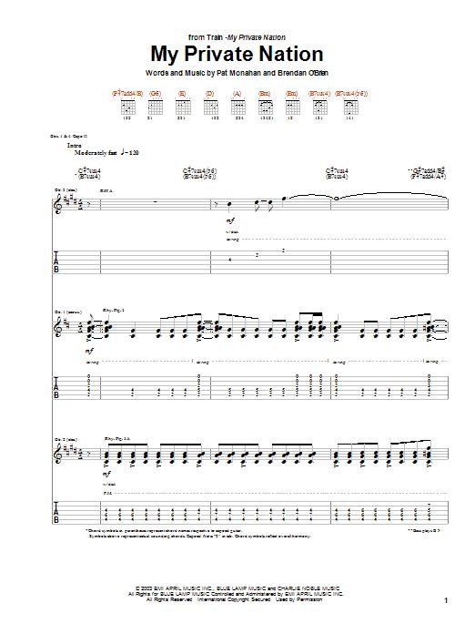 Tablature guitare My Private Nation de Train - Tablature Guitare