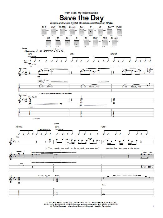 Tablature guitare Save The Day de Train - Tablature Guitare