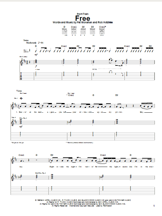 Tablature guitare Free de Train - Tablature Guitare