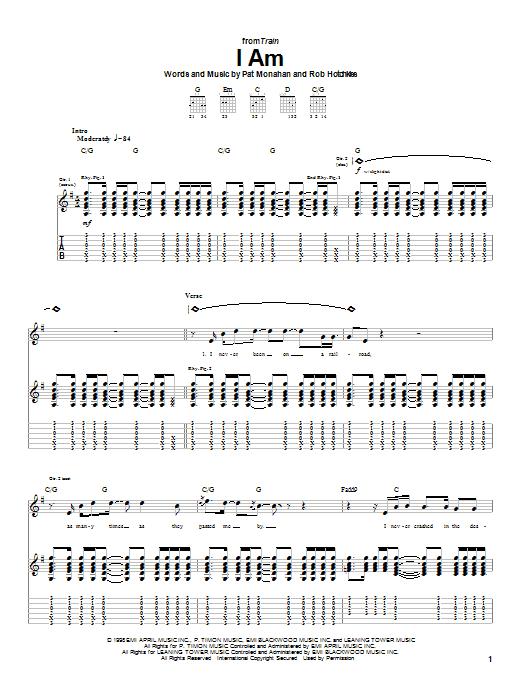 Tablature guitare I Am de Train - Tablature Guitare