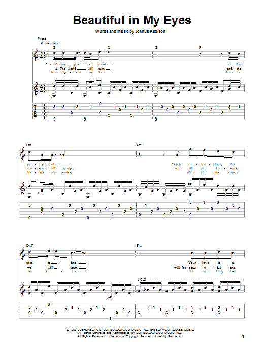 Beautiful In My Eyes sheet music for guitar solo by Joshua Kadison