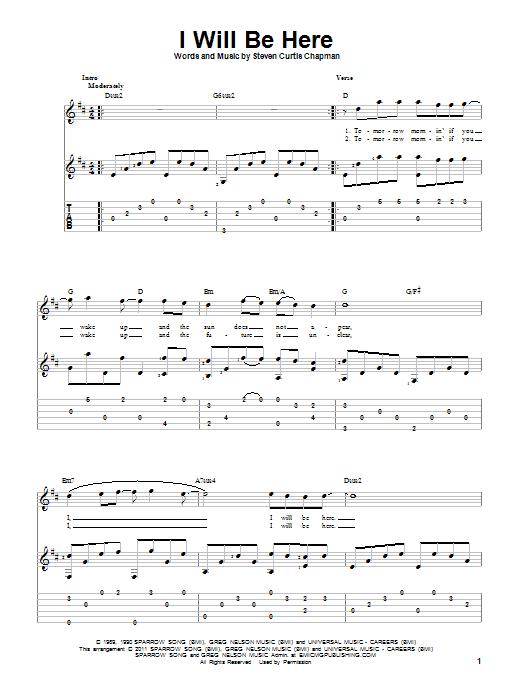 Tablature guitare I Will Be Here de Steven Curtis Chapman - Tablature Guitare