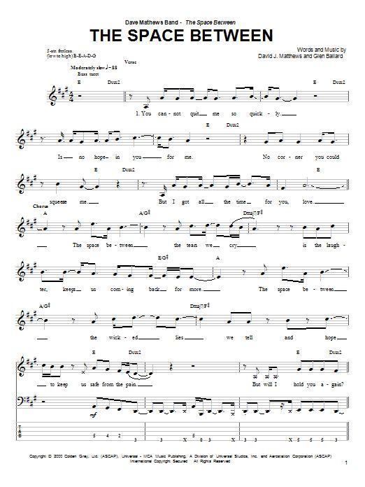 Tablature guitare The Space Between de Dave Matthews Band - Tablature Basse