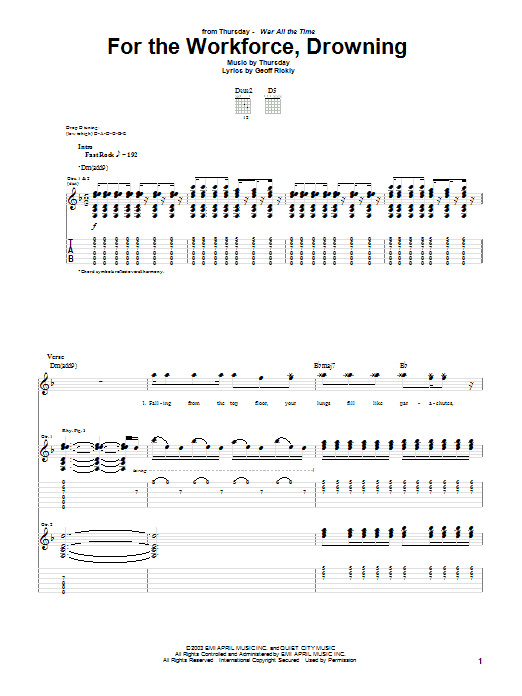 For The Workforce, Drowning sheet music for guitar solo (tablature) by Geoff Rickly