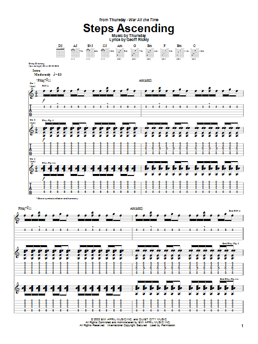 Steps Ascending sheet music for guitar solo (tablature) by Geoff Rickly