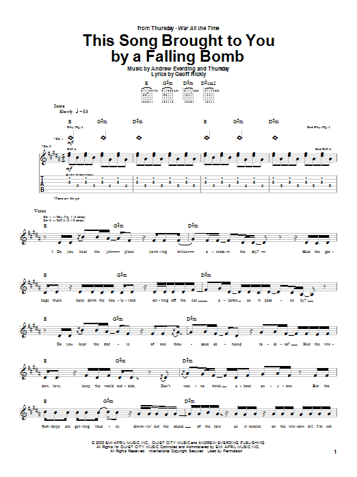 Tablature guitare This Song Brought To You By A Falling Bomb de Thursday - Tablature Guitare
