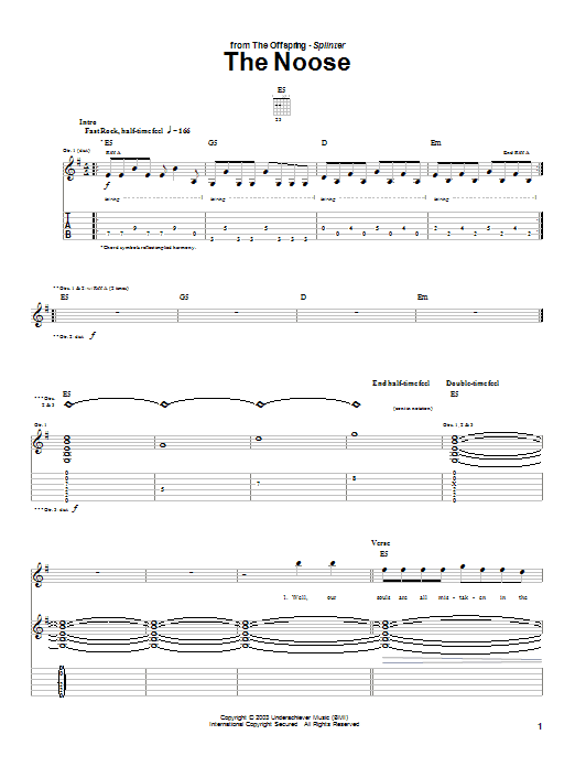 Tablature guitare The Noose de The Offspring - Tablature Guitare