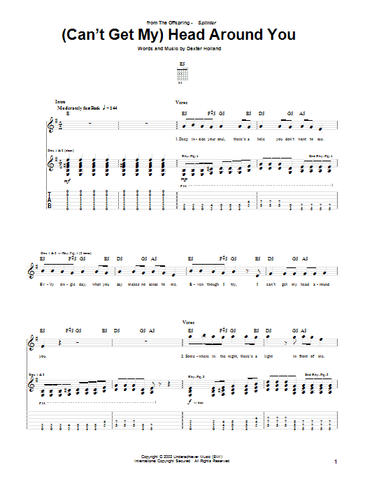 (Can't Get My) Head Around You sheet music for guitar solo (tablature) by Dexter Holland
