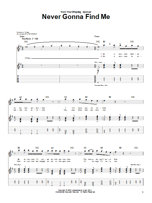 Tablature guitare Never Gonna Find Me de The Offspring - Tablature Guitare