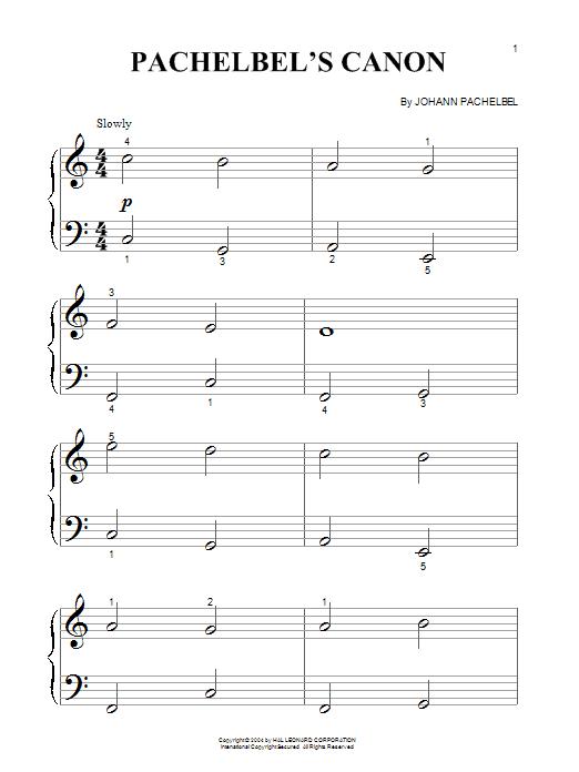 Partition piano Pachelbel's Canon In D Major de Johann Pachelbel - Piano Facile