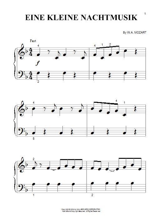 Partition piano Eine Kleine Nachtmusik de Wolfgang Amadeus Mozart - Piano Facile