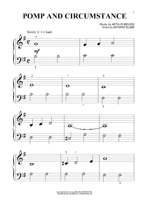 Partition piano Pomp And Circumstance March No.1 de Edward Elgar - Piano Facile