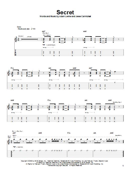 Tablature guitare Secret de Maroon 5 - Tablature Guitare