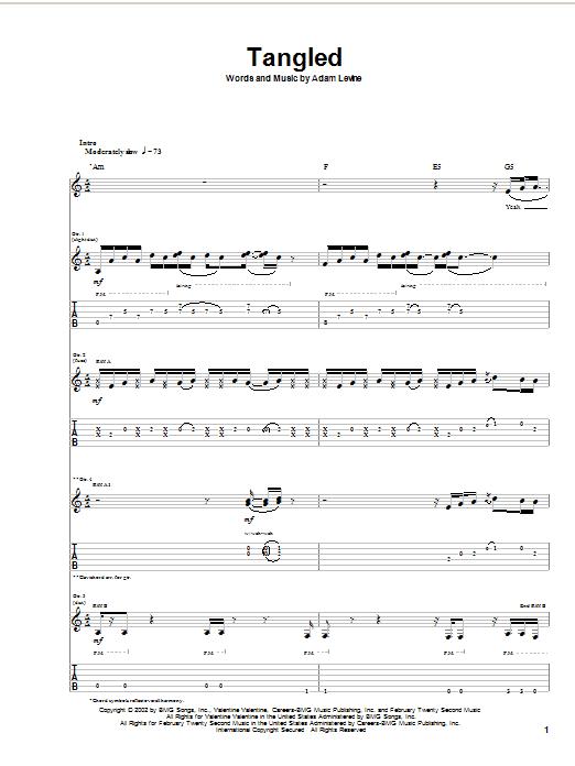 Tablature guitare Tangled de Maroon 5 - Tablature Guitare