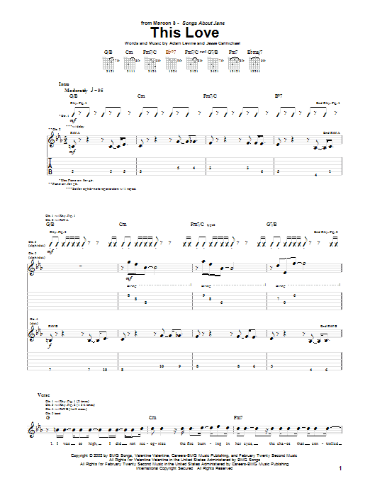 This Love sheet music for guitar (tablature) by Jesse Carmichael