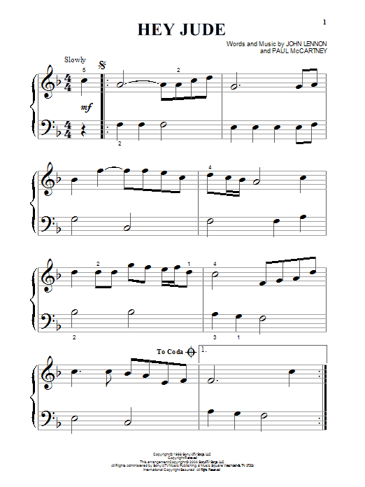Partition piano Hey Jude de The Beatles - Piano Facile