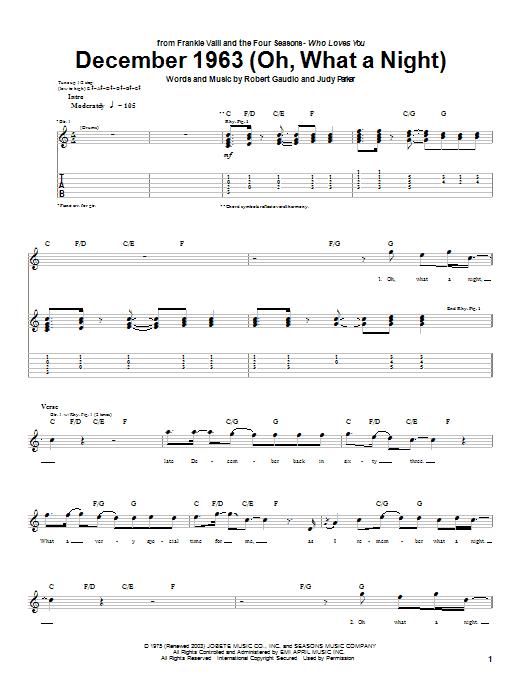 Tablature guitare December 1963 (Oh, What A Night) de Frankie Valli & The Four Seasons - Tablature Guitare