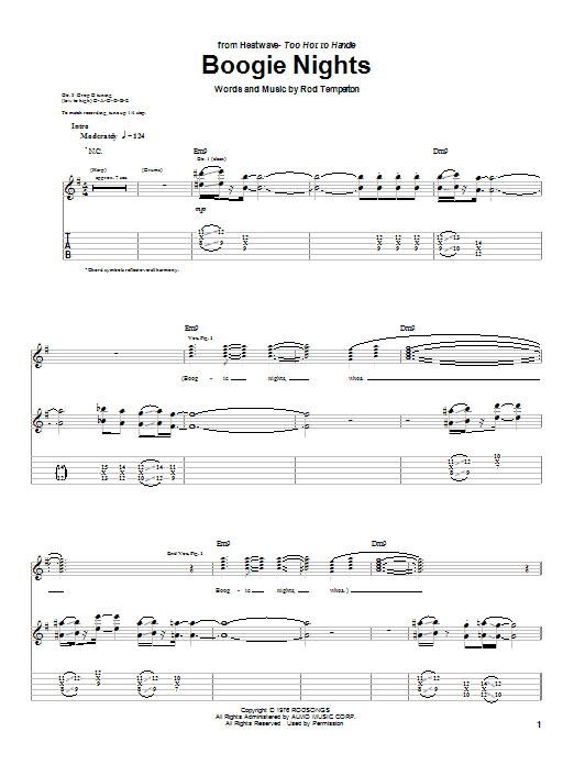 Tablature guitare Boogie Nights de Heatwave - Tablature Guitare