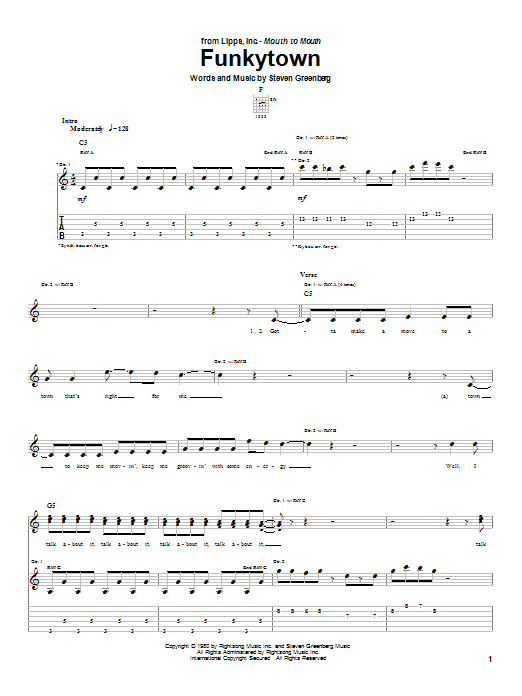 Tablature guitare Funkytown de Lipps Inc. - Tablature Guitare