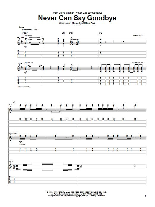 Tablature guitare Never Can Say Goodbye de The Jackson 5 - Tablature Guitare