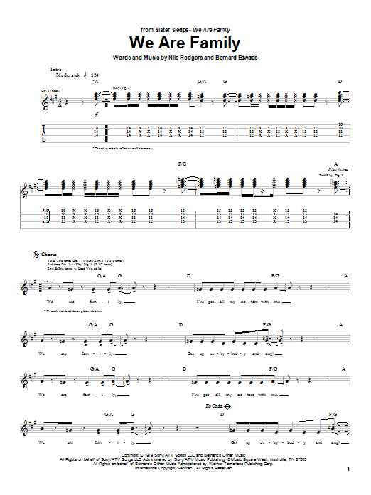 Tablature guitare We Are Family de Sister Sledge - Tablature Guitare