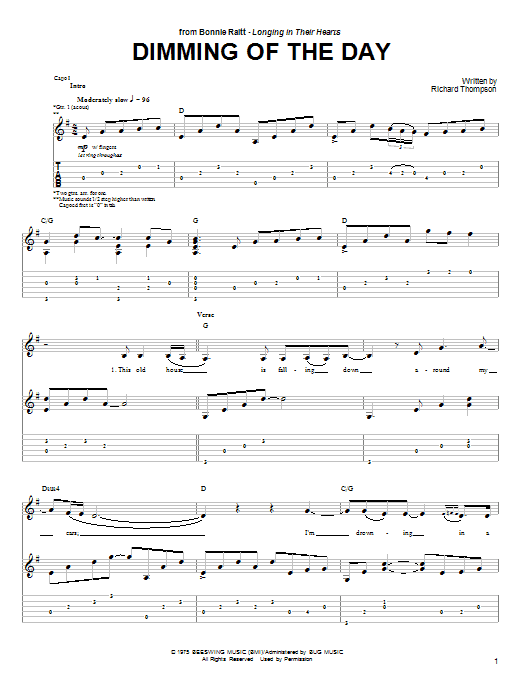Dimming Of The Day sheet music for guitar solo (tablature) by Bonnie Raitt