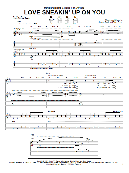 Tablature guitare Love Sneakin' Up On You de Bonnie Raitt - Tablature Guitare