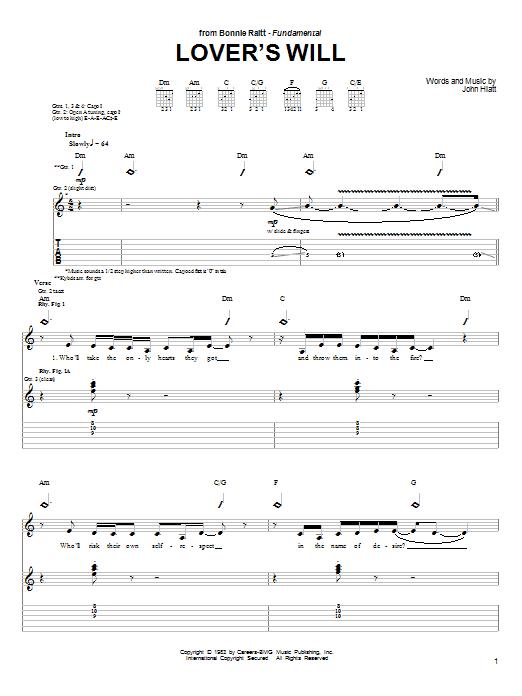 Tablature guitare Lover's Will de Bonnie Raitt - Tablature Guitare