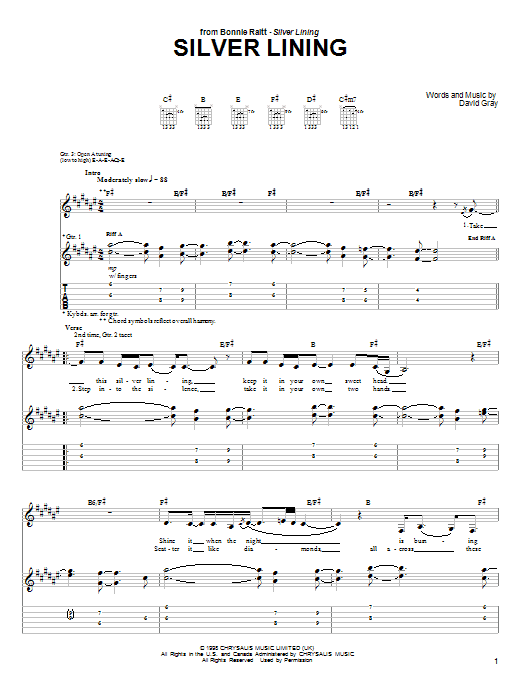 Tablature guitare Silver Lining de Bonnie Raitt - Tablature Guitare
