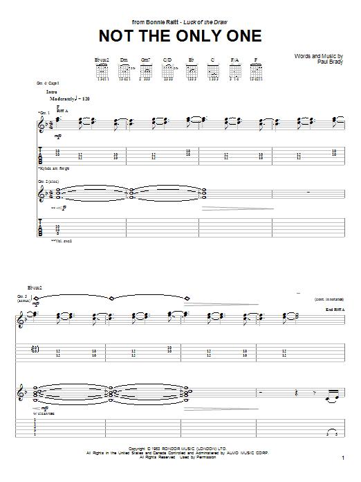Tablature guitare Not The Only One de Bonnie Raitt - Tablature Guitare