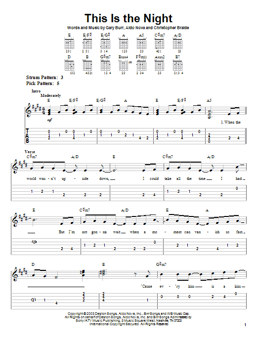 Tablature guitare This Is The Night de Clay Aiken - Tablature guitare facile