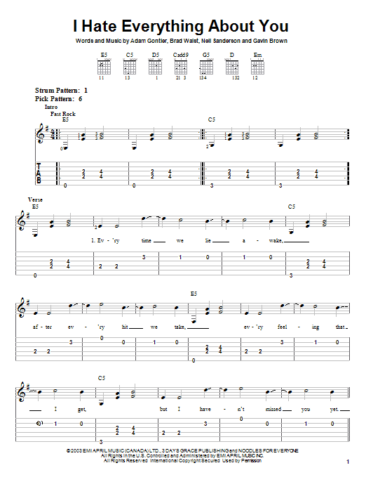 Tablature guitare I Hate Everything About You de Three Days Grace - Tablature guitare facile