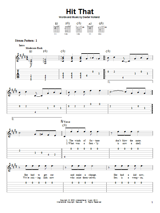 Tablature guitare Hit That de The Offspring - Tablature guitare facile