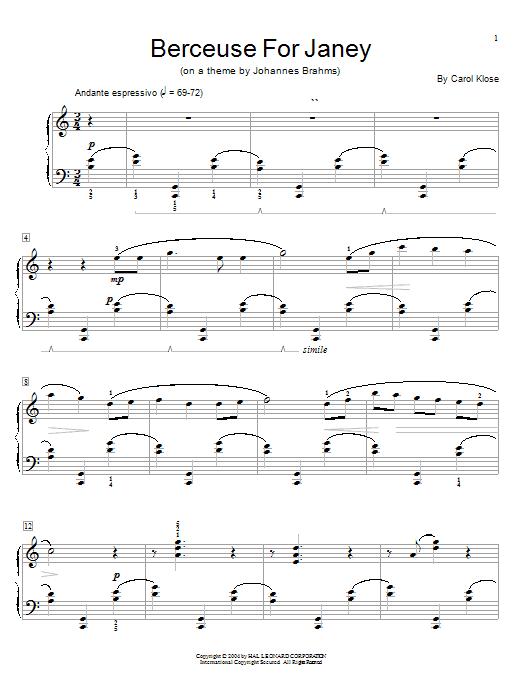 Partition piano Berceuse For Janey de Carol Klose - Piano Solo