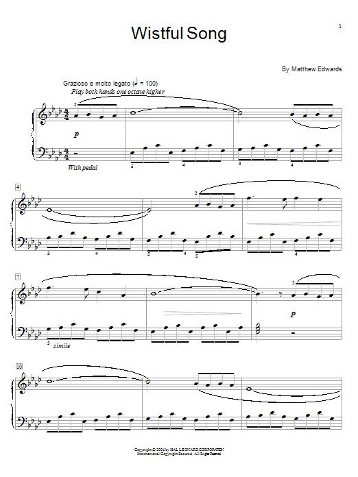 Partition piano Wistful Song de Matthew Edwards - Piano Facile