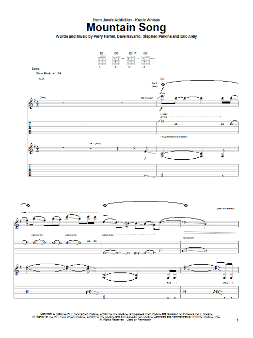 Mountain Song sheet music for guitar solo (tablature) by Stephen Perkins