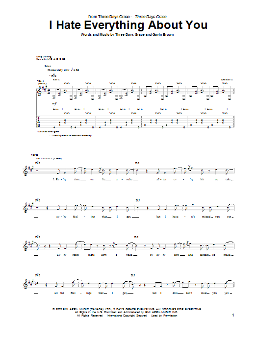 Tablature guitare I Hate Everything About You de Three Days Grace - Tablature Guitare