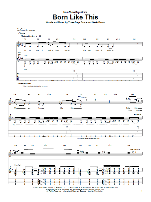Tablature guitare Born Like This de Three Days Grace - Tablature Guitare