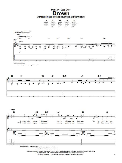 Drown sheet music for guitar solo (tablature) by Gavin Brown