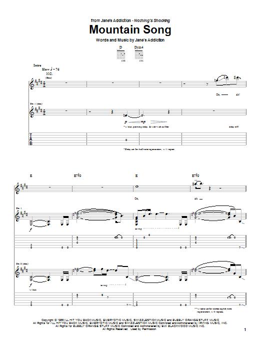 Tablature guitare Mountain Song de Jane's Addiction - Tablature Guitare