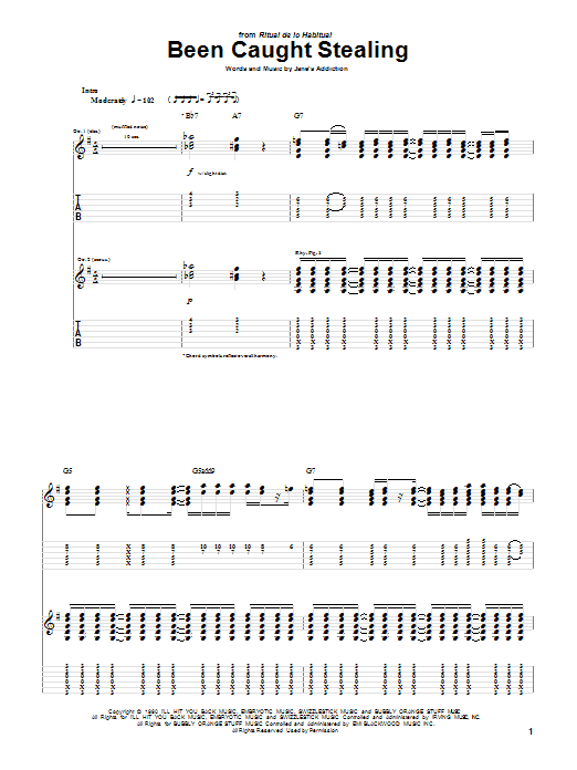 Tablature guitare Been Caught Stealing de Jane's Addiction - Tablature Guitare