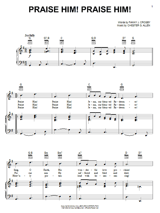 Praise Him! Praise Him! sheet music for voice, piano or guitar by Chester G. Allen