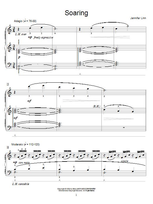 Partition piano Soaring de Jennifer Linn - Piano Solo