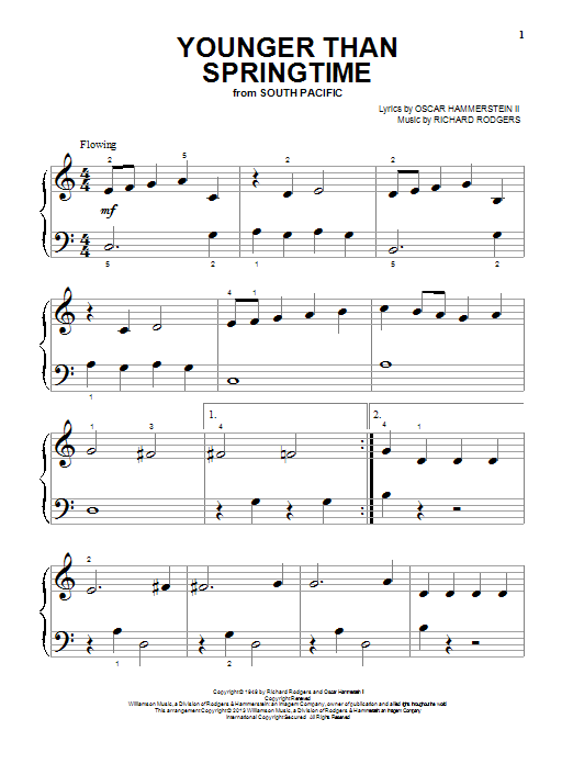 Partition piano Younger Than Springtime (from South Pacific) de Rodgers & Hammerstein - Piano Facile