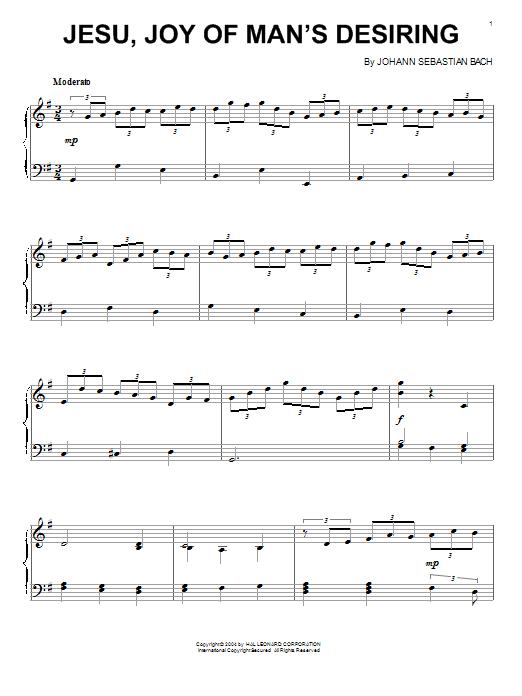 Partition piano Jesu, Joy Of Man's Desiring (from Cantata 147) de Johann Sebastian Bach - Piano Solo