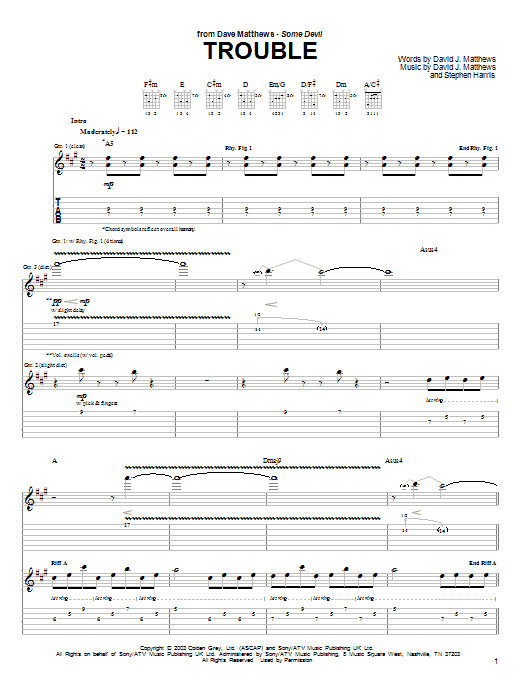 Tablature guitare Trouble de Dave Matthews - Tablature Guitare