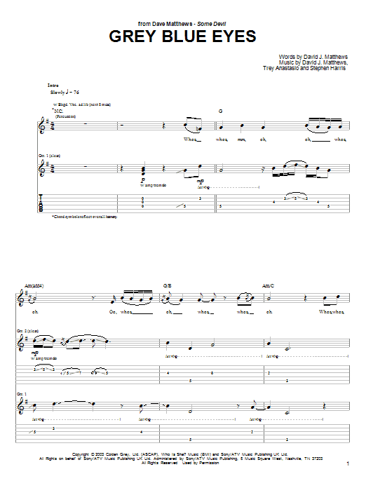 Grey Blue Eyes sheet music for guitar solo (tablature) by Trey Anastasio