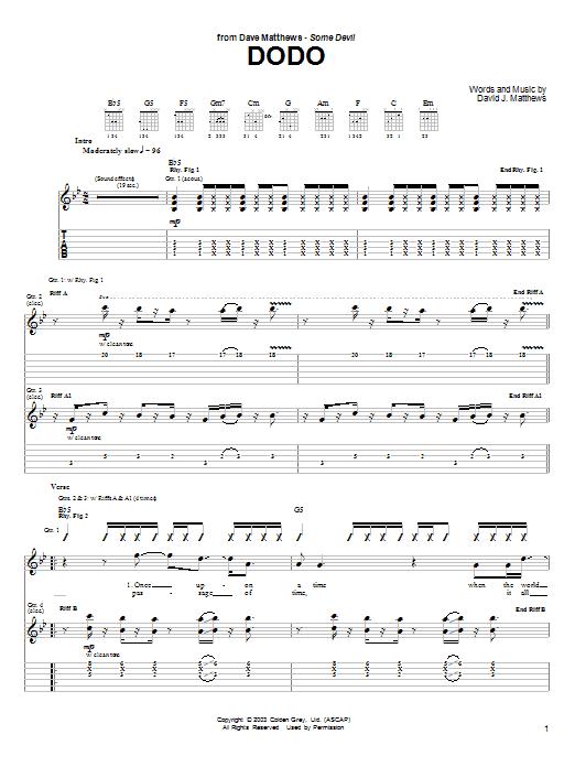 Tablature guitare Dodo de Dave Matthews - Tablature Guitare