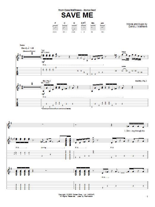 Tablature guitare Save Me de Dave Matthews - Tablature Guitare